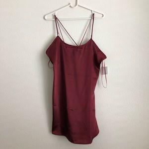 UO Red Silky Slip Dress